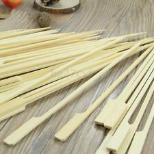50Pcs Reusable 15cm Bamboo Skewers Paddle Sticks For BBQ Grill Kebab Barbeque