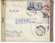 Three Faulty 1944 Spain Double Censored Civil War Covers to Detroit Michigan