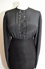 SILKY TOP BLOUSE VTG 80S BLACK WIDOW VICTORIANA GOTH STEAMPUNK GOVERNESS 12 14