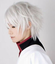 New Men Anime Gintama Sakata Gintoki Cosplay Silver White Short Hair Full Wig