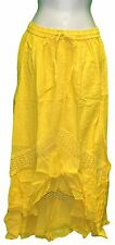 S M L XL Mullet Skirt Solid Yellow Long A-Line Elastic Waist Cotton One Size NWT