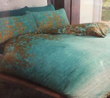 Kingsize Duvet Set Reversible Ombré Teal Green Blue Gold Leaves Cotton Rich NEW
