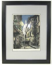 Original JACQUES MAURICE Signed Etching Paris France Montmartre La Rue Rustique