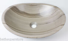 New Solid Stone MARBLE OVAL Bowl Counter Top Basin Vanity ROUND CURVED Modern