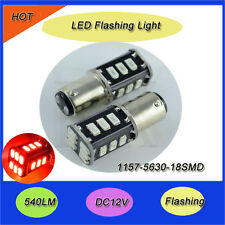 2X 1157 BAY15D SMD Red FLASH CANBUS Error Free Signal P21/5W 18 LED Light Bulbs