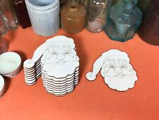 WOODEN DETAILED SANTA FATHER CHRISTMAS Shape 8cm (x10) laser cut  wood shapes