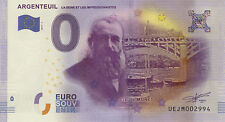 95 ARGENTEUIL CLAUDE MONET 0 BILLET ZERO EURO SOUVENIR 2017 NO BANK NOTE MEDAL