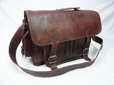 """17x12"""" Real Leather Padded Briefcase Laptop Macbook Satchel Padded Messenger Bag"""