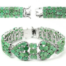 Sterling Silver 925 Genuine Natural Green Emerald Heart Design Bracelet 7 Inches
