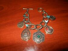 LUCKY BRAND Antique Finish Charm Dangle Bracelet Peace Buddha Flower see pics