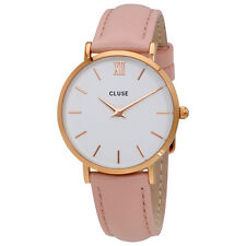Cluse Minuit White Dial Pink Leather Ladies Watch CL30001