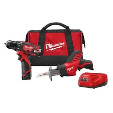 MILWAUKEE 2493-22 M12 12V Cordless Hackzall & 3/8 in. Drill/Driver Combo Kit NEW