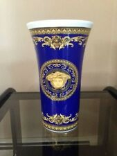 "VERSACE MEDUSA BLUE VASE FLOWER POT Rosenthal 11"" Wedding GIFT NEW  RET. $500"
