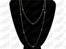 925 Sterling Silver Long Necklace With CZ Cubic Zirconia Crystals