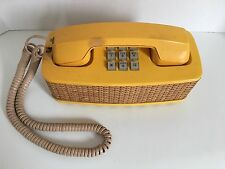 Vintage Western Electric Yellow Wicker Push Button Phone