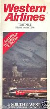 Airline Timetable - Western - 07/01/86