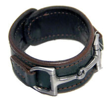 Equestrian Horse Bit Leather Wide Cuff Bracelet Silver Hardware, HUNTER GREEN