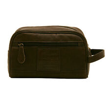 ASHWOOD - BROWN HERITAGE WASH BAG IN COW OILY LEATHER