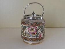 Victorian Taylor Tunnicliffe & Co Small Biscuit Barrel with Plated Lid (L64,55)
