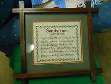 Great Collectable Framed under Glass SOUTHERNER Poem WALL PLAQUE............SALE
