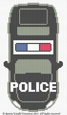 Crochet Patterns - POLICE CAR Graph/Chart Baby Afghan Pattern