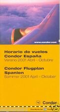 Airline Timetable - Condor - Summer 2001 - Spain Edition