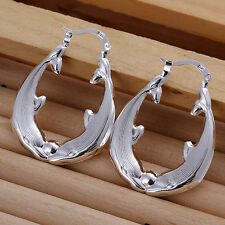 Free shipping wholesale sterling solid silver dolphin hoop Earrings XLSE137