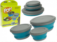3pc Collapsible Folding Fold Flat Camping  Bowl Set. Food Container Dish