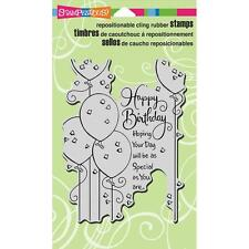 New Stampendous RUBBER STAMP cling BIRTHDAY BALLOONS GREETING free usa ship