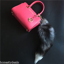 "20"" Large Real Silver Fox Fur Tail Keychain Leather Tassel bag charm Key Ring"