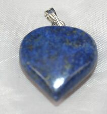 Blue Lapis Lazuli Crystal Gemstone Heart Pendant Reiki Blessed Silver Plated New