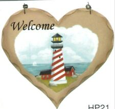 8X7 Country Wooden Heart Lighthouse Welcome Nautical Home Wall Decor Wood Sign