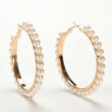 Women Vogue Faux Pearl Earings Chic Beads Gold Plated Ear Hoop Circle Earring EW
