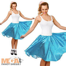 1950s Retro Blue Skirt Ladies Fancy Dress 50s Rock N Roll Womens Costume Outfit