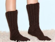 SUPERTANYA Hand knitted mohair socks Fuzzy handmade mens DARK BROWN leg warmers