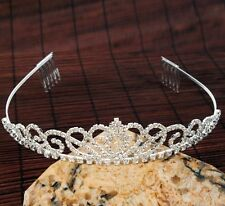 Hot Sparkling Crystal Crown Headband Pageant Prom Wedding Tiara Party Hair Comb