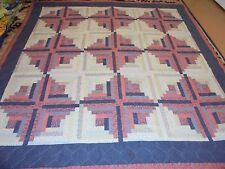 Nice Whole Cloth Log Cabin Pattern Quilt