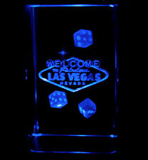 """3""""3D Laser Etched Crystal Welcome to Las Vegas Sign Dices with Free Light Base"""