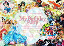 Disney Princess super hero kids birthday party invitations pack 10 thick cards