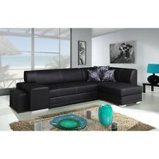 Corner sofa bed black faux leather left right,FREE  pouf
