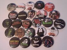 25 Cult Horror Button badges The Evil Dead Cannibal Holocaust Eraserhead Dawn of