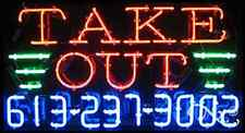 """NEW """"TAKE OUT"""" W/YOUR PHONE NUMBER 37x20 REAL NEON SIGN W/CUSTOM OPTIONS 15035"""