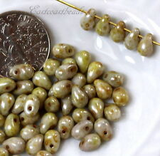 Tear Drop Beads, 4x6mm, Green Olive Gray w/Picasso Finish, 50 Beads