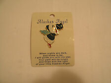 Alaskan Angel Fairy Pixie Pin with Flag When Nights Are Dark Call Your Angel