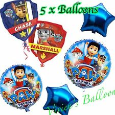 "2 x 18"" PAW PATROL FOIL BALLOONS. 1 x CHASE/MARSHALL & 2 x STAR FOIL BALLOONS."