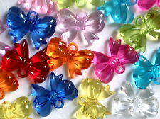 18 BOW CHARMS ASSORTED COLOUR PLASTIC JEWELLERY MAKING CRAFTS  30mm  CHP0149
