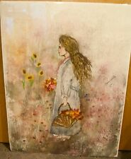 ANNA SANDHU RAY SIGNED WATERCOLOR PAINTING-GIRL WALKING IN FLOWER FIELD