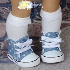 "Cons Sneakers Shoes Boots Hearts Washed Denim for 18"" American Girl Dolls"