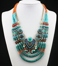 N2692 Hot Selling Bohemia Handmade Beads Gem Multi Layers Bib Statement Necklace