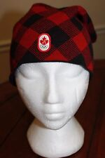 Hudsons Bay Canada Canadian Olympic Beanie Hat Cap Patch Plaid Red & Black EUC